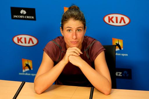 MELBOURNE, AUSTRALIA - JANUARY 28: Johanna Konta of Great Britain talks to the media after her semi final match against Angelique Kerber of Germany during day 11 of the 2016 Australian Open at Melbourne Park on January 28, 2016 in Melbourne, Australia. (Photo by Darrian Traynor/Getty Images)