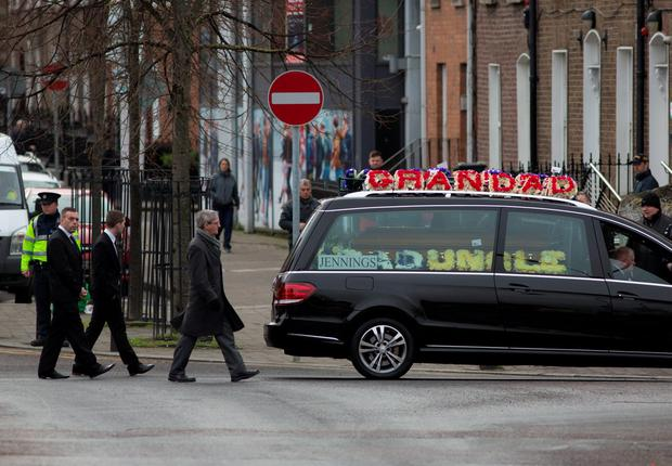 The remains of Eddie Hutch (Snr) are brought to his funeral mass this morning.