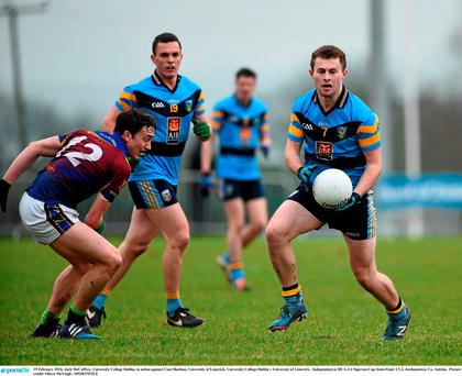 Jack McCaffrey, University College Dublin, in action against Cian Sheehan, University of Limerick