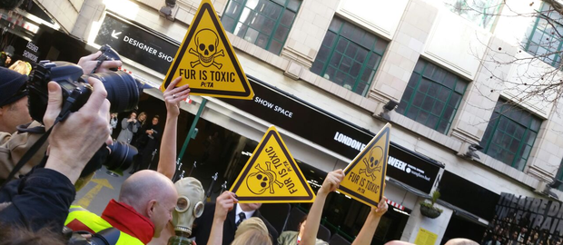 A group of animal rights protesters have crashed London Fashion Week to highlight the danger of 'toxic' fur. Photo: PETA UK / Twitter.