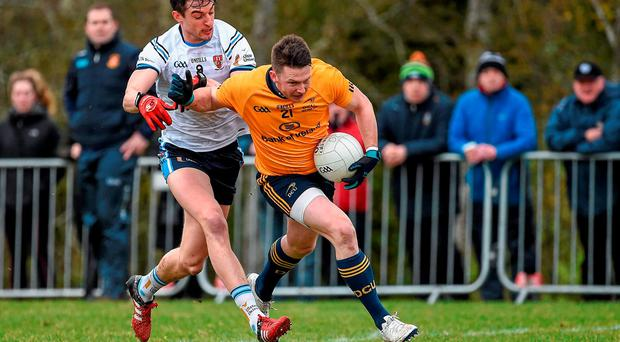 19 February 2016; Michael Quinn, Dublin City University, in action against Niall McKeever, University of Ulster Jordanstown. University of Ulster Jordanstown v Dublin City University - Independent.ie HE GAA Sigerson Cup Semi-Final. UUJ, Jordanstown, Co. Antrim. Picture credit: Oliver McVeigh / SPORTSFILE