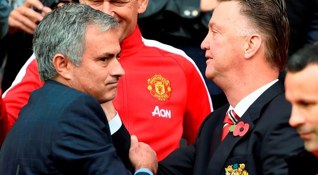 Louis van Gaal and Jose Mourinho. Photo: PA