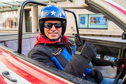Programme Name: Top Gear 2016 - TX: n/a - Episode: Top Gear 2016 New (No. n/a) - Picture Shows: Chris Evans and Matt LeBlanc's first challenge is a battle between the UK and the USA. They were told by David Baddiel on BBC Radio 2 that they had to travel to