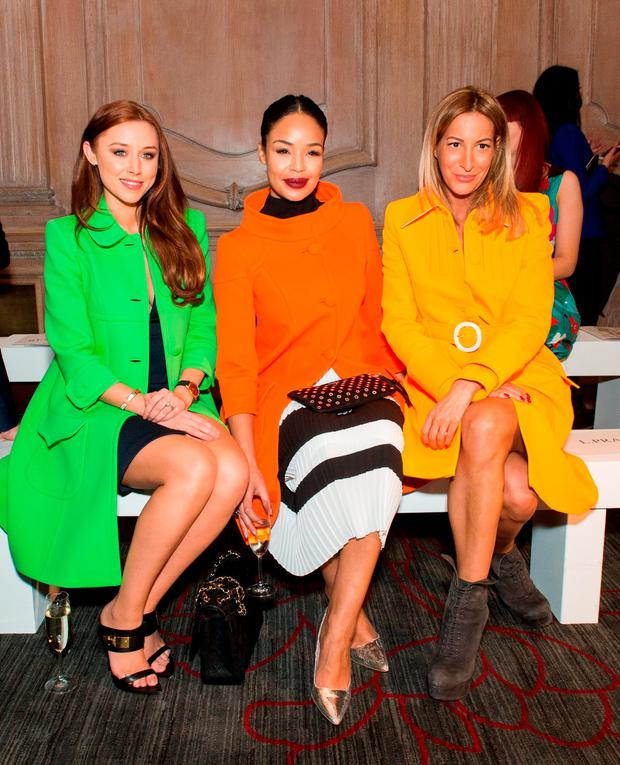 LONDON, ENGLAND - FEBRUARY 19: Una Foden, Sarah Jane Crawford and Laura Pradelska attend the Paul Costelloe presentation during London Fashion Week Autumn/Winter 2016/17 at Le Meridien Piccadily on February 19, 2016 in London, England. (Photo by Samir Hussein/Getty Images)