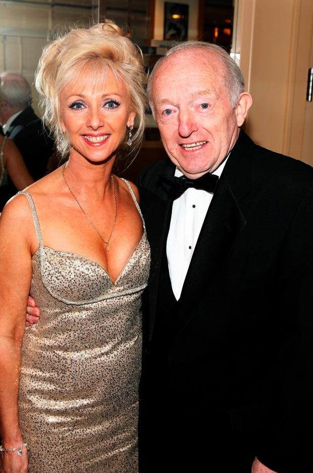 Magician Paul Daniels and wife Debbie McGee pose at the 40th Annual Academy Of Magical Arts Awards held at the Beverly Hilton Hotel on April 6 2008 in Beverly Hills, California (Photo by Frazer Harrison/Getty Images)