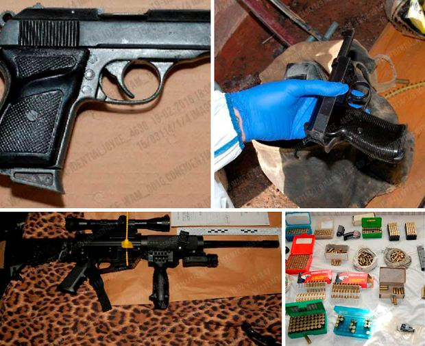 Undated West Midlands Police handout photos of the arsenal of more than 30 weapons - some illegally held - and over 10,000 rounds of ammunition found in the home of gun fanatic John Kingscott, after police raided his home following a shooting in Birmingham