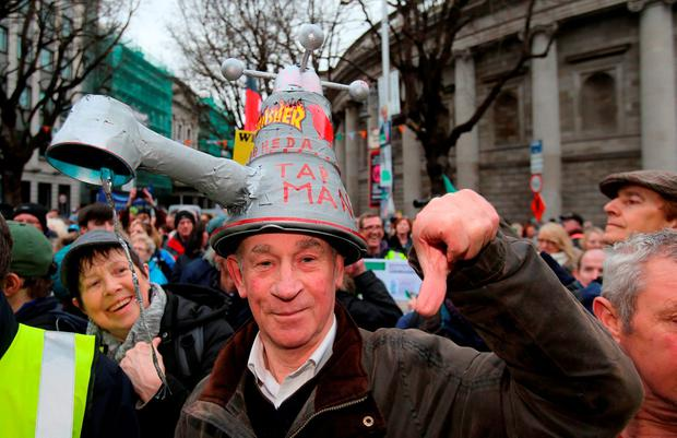Anti-water charges campaigners at Saturday's Right2Water demonstration in Dublin Credit: Niall Carson/PA Wire