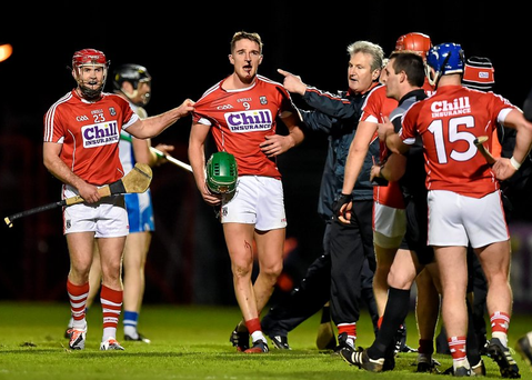 Cork manager Kieran Kingston appeals to referee James Owens after Aidan Walsh, Cork, was injured in an off the ball incident. Picture credit: Brendan Moran / SPORTSFILE