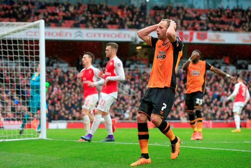 Hull City's David Meyler rues a missed chance in the FA Cup stalemate at Arsenaland Photo: PA