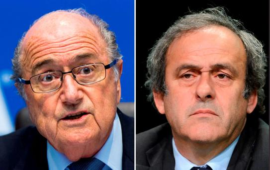 FIFA president Sepp Blatter (L) and UEFA President Michel Platini Photo: Getty