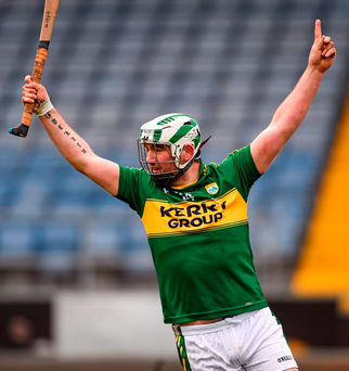 Kerry's Mikey Boyle celebrates scoring his side's first goal against Laois Photo: Paul Mohan / SPORTSFILE