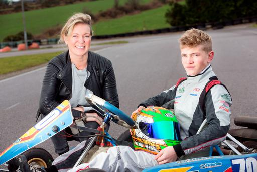 FAST LANE TO SUCCESS: Celebrity chef Rachel Allen with her son Lucca, who has just got a racing car driving deal in the UK. Photo: Tony Gavin