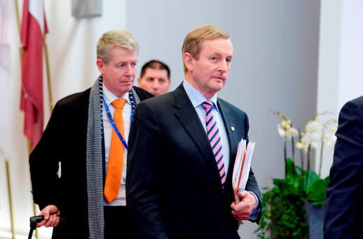 Enda Kenny leaves at the end of the European Summit in Brussels. Photo: Getty Images