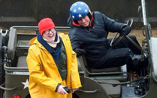 Evans (left) and Le Blanc smiling through the rain in Blackpool