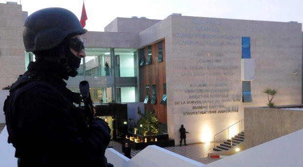 A guard stands outside Morocco's Central Bureau of Judicial Investigation (BCIJ)