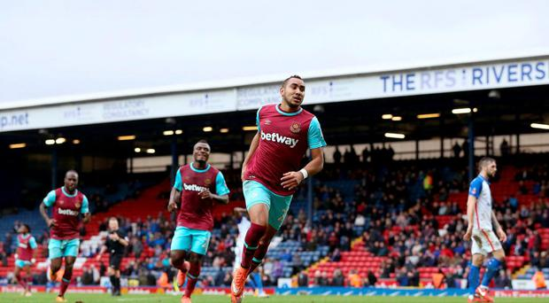 West Ham United's Dimitri Payet celebrates scoring the fifth goal of the game