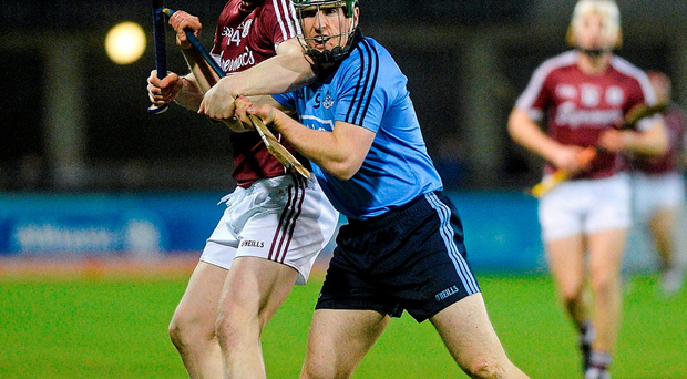 Galway's Joe Cannning challenges Johnny McCaffrey of Dublin just before a sideline cut in Saturday's Parnell Park clash. Photo: Sportsfile