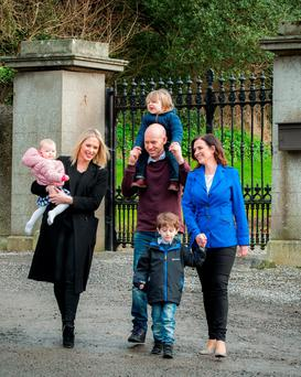 Vivienne Traynor pictured with her son Oscar (4), her nephew Martin, his partner Mary (far left), and their kids Daisy (10 months) and Ted (2). Photo: Philip O'Neill
