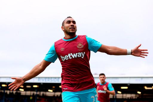 West Ham United's Dimitri Payet celebrates scoring their fifth goal of the game. Photo: Martin Rickett/PAs.