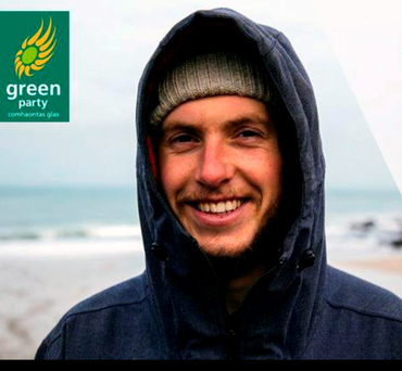 Fergal Smith, Green Party candidate for Clare, is a pro surfer