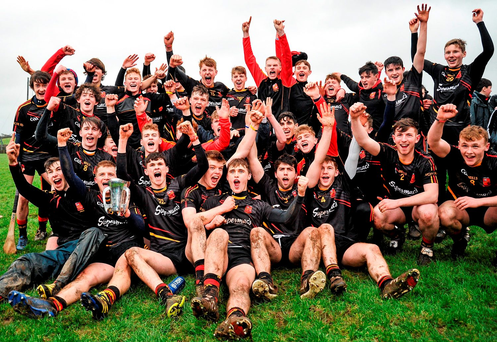The Ardscoil Ris team celebrate with the Dr. Harty Cup after victory over Our Lady's Templemore in Nenagh. Photo: Sportsfile