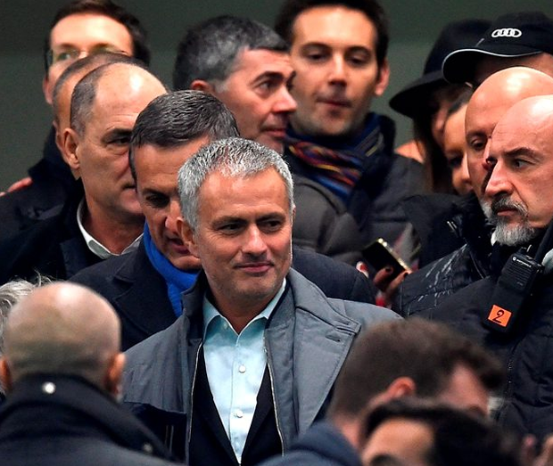 Jose Mourinho attends the Serie A match between Inter Milan and Sampdoria at Stadio Giuseppe Meazza on Saturday night. Photo: Valerio Pennicino/Getty Images