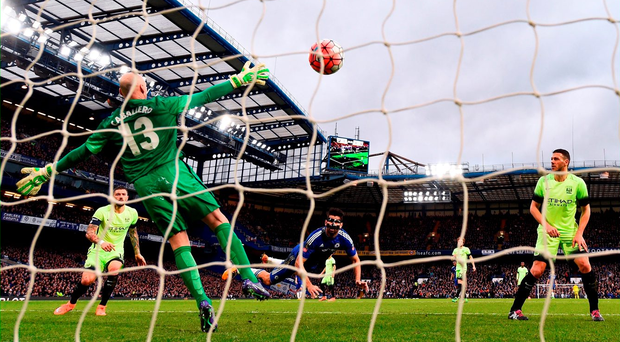 Diego Costa opens the scoring at Stamford Bridge. Photo: Getty