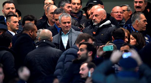 Jose Mourinho (C) attends a Serie A match between FC Internazionale Milano and UC Sampdoria on Saturday. Photo: Getty