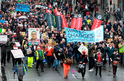 An anti-water charges protest in the capital at the weekend. Photo: Frank McGrath