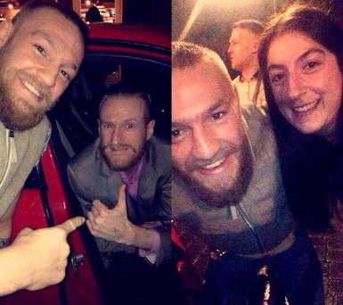 Sarah Nora McGrath and her boyfriend Stevo Timothy with Conor McGregor