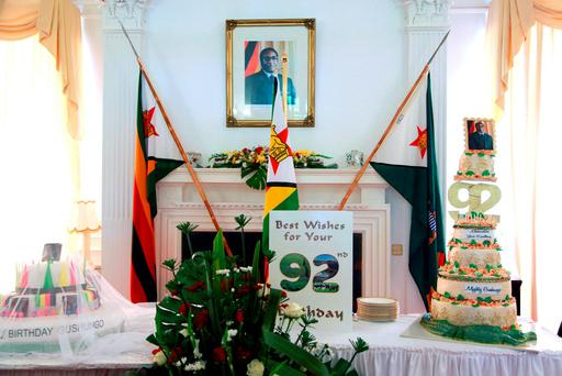 The set up is seen before Zimbabwean President Robert Mugabe arrived for his surprise birthday celebrations State House in Harare. (AP Photo/Tsvangirayi Mukwazhi)