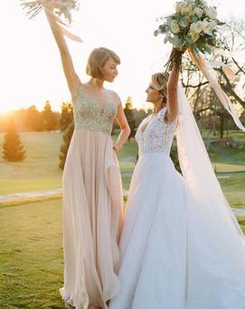 Taylor Swift was maid of honour at her best friend's wedding this weekend. Photo via Instagram @TaylorSwift