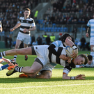 22 February 2016; David Hawkshaw, Belvedere College, goes over to score a try despite the attention of Luke Gaffney, Blackrock College.Stephen McCarthy / SPORTSFILE