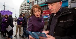 Social Democrat co-leader Róisín Shortall talking to John Patrick Whelan on Grafton Street. Photo: Fergal Philip