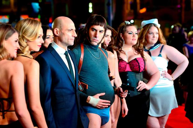 Mark Strong (centre left) and Sacha Baron Cohen as Nobby attending The World Premiere of Grimsby, at the Odeon Leicester Square, London