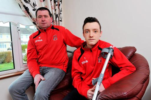 Manager Mark Towler and Kilreen Celtic soccer player Craig Linehan ,who was injured in a local match last weekend and waited 75 minutes for an ambulance to take him to CUH, located just 10 minutes away. Pic Daragh Mc Sweeney/Provision