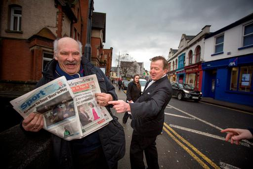 John Perry meets Philip McCaffrey in Sligo. Photo: Mark Condren