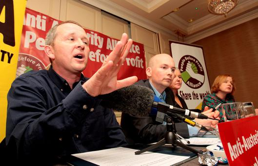 Richard Boyd Barrett at a press conference yesterday. Photo: Tom Burke