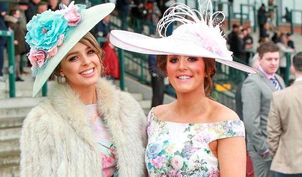 Carolyn Connolly and Orla Boyle at the Bobbyjo Chase at Fairyhouse Races. Picture: Conor Healy