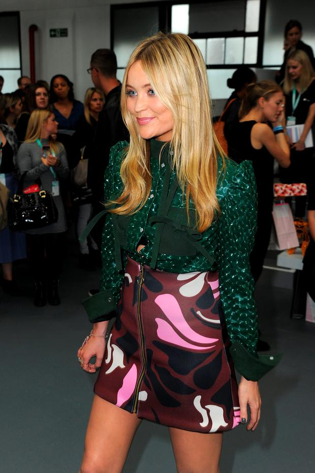 Presenter Laura Whitmore attends the Fyodor Golan show during London Fashion Week Spring/Summer 2016 on September 18, 2015 in London, England. (Photo by Eamonn M. McCormack/Getty Images)
