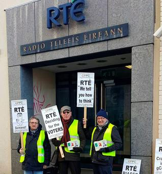 Diarmaid O'Cadhla picketing RTÉ's Cork office with supporters