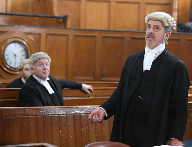 Pictured in Green Street Courthouse, Andrew Bennett stars as lead prosecutor Sebastian Banks in TV3s new 1916 commemorative three-part series Trial of the Century. Picture: Brian McEvoy