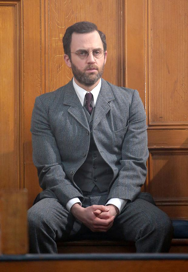Pictured in Green Street Courthouse, Mark Huberman stars as George Gavan Duffy in TV3s new 1916 commemorative three-part series Trial of the Century. Picture: Brian McEvoy