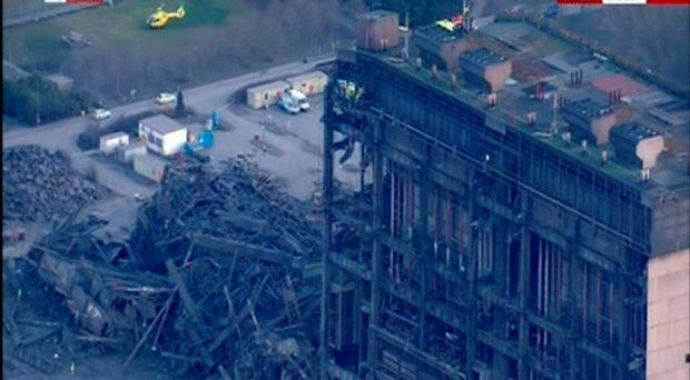 Video grab taken from BBC News of Didcot Power Station in Oxfordshire where a major incident has been declared and a fatality reported after a building collapse