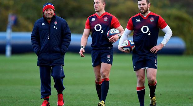 England coach Eddie Jones (left), Mike Brown (centre) and Elliot Daly