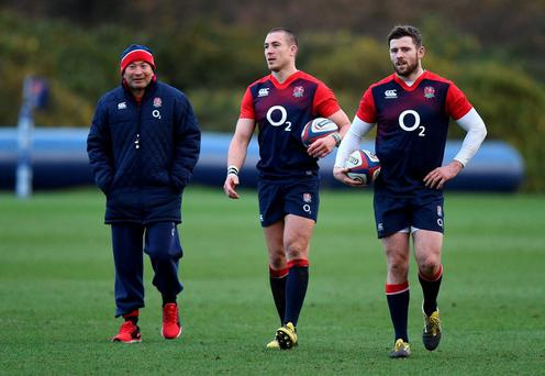 England coach Eddie Jones (left), Mike Brown (centre) and Elliot Daly during a training session at Pennyhill Park