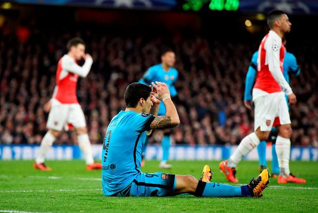 Barcelona's Luis Suarez looks dejected after a missed chance