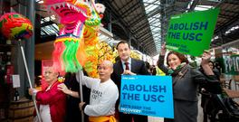 Keep the recovery going: Health Minister Leo Varadkar and Fine Gael election candidate Kate O'Connell, Dublin Bay South, meet the Flower City Cantonese Dragon Group celebrating the Dublin Chinese New Year at CHQ, Customs House Quay in Dublin, earlier this month. Photo: Tony Gavin