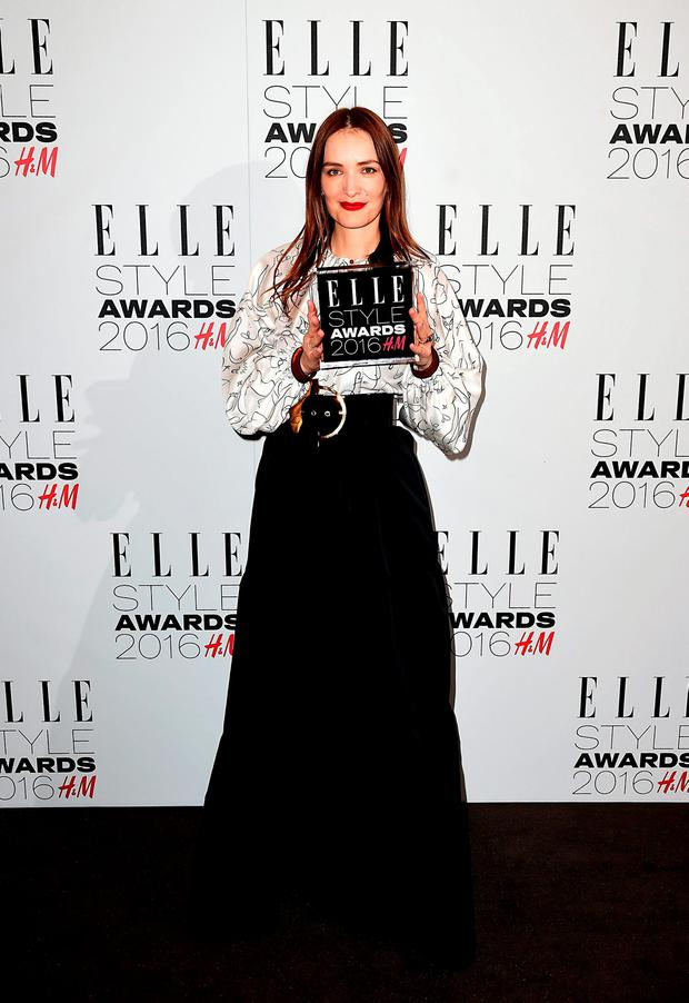 Roksanda Ilincic with the award for British Designer of the Year in the press room at the Elle Style Awards 2016 held at Tate Britain in Millbank, London