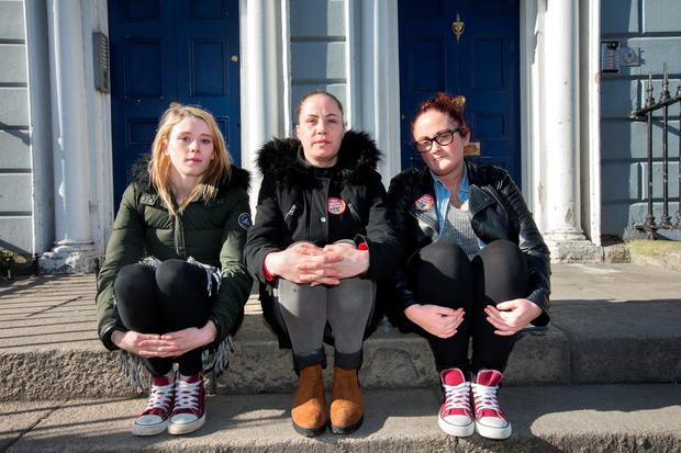 From left: Gemma Bradley, Aishling Kenny and Carol McNulty, who are being made homeless with their families